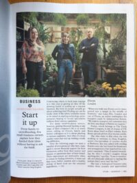 Floom founder Lana Elie photographed with investors Greg Stogdon and Maria-Christina at The Fresh Flower workshop in East Dulwich, London for Monocle magazine