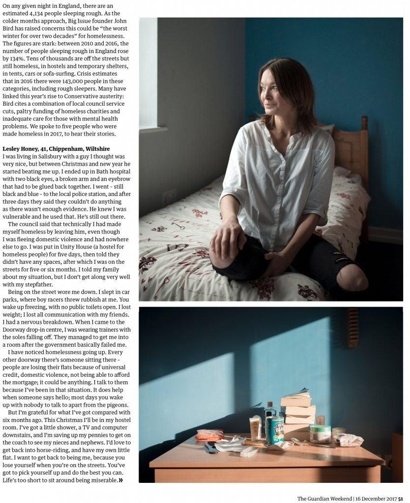 homelessness feature for the guardian weekend, december 2017 by erica buist