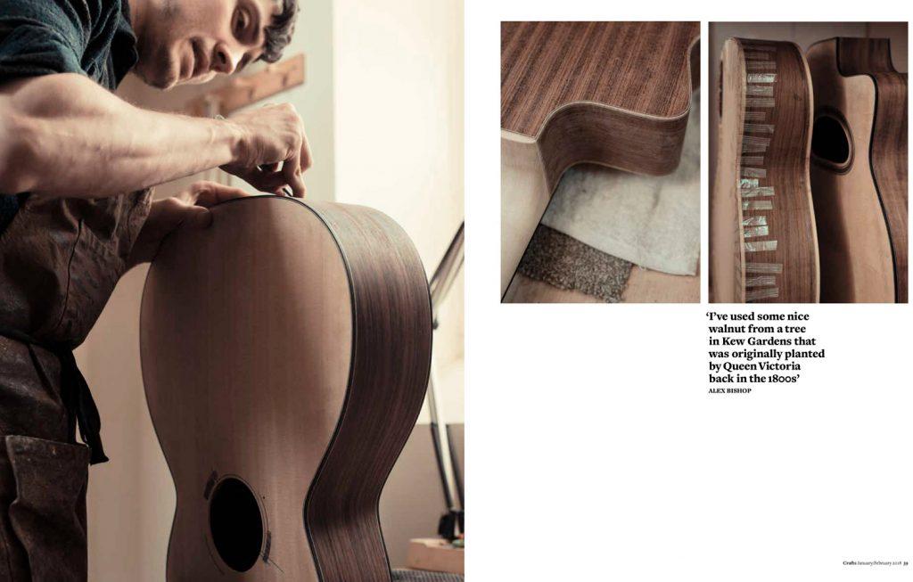 Alex bishop guitar maker photographed by Francesca Jones for Crafts magazine at his studio in Corsham, Wiltshire