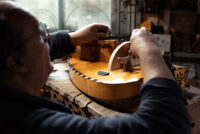 Chris Allen and Sabina Kormylo's hurdy gurdy workshop in Merthyr